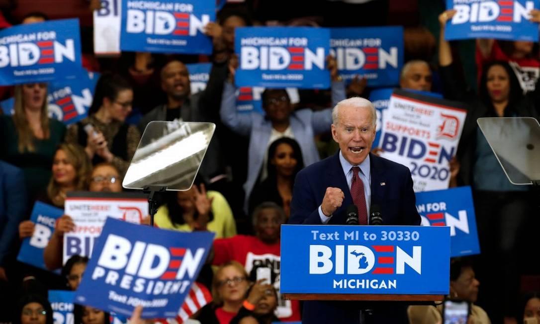 Ex-vice presidente Joe Biden, durante evento de campanha em Detroit, Michigan Foto: JEFF KOWALSKY / AFP / 09-03-2020