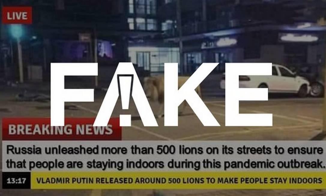 É #FAKE que governo russo soltou leões nas ruas para amedrontar a população e fazê-la ficar em casa por conta do coronavírus Foto: Reprodução