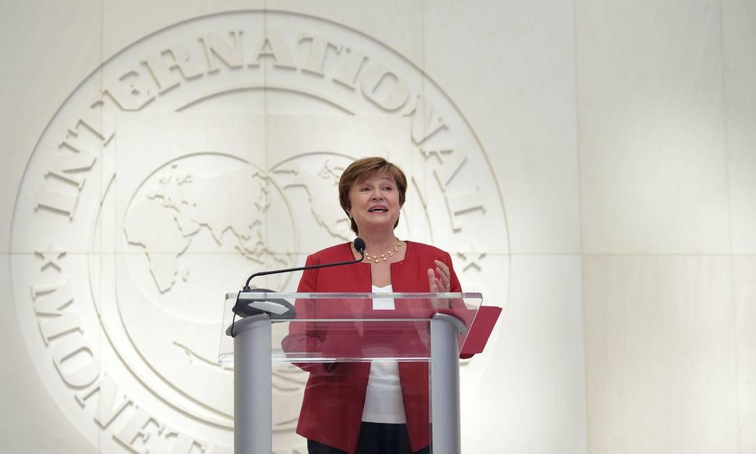 A diretora-gerente do Fundo Monetário Internacional, Kristalina Georgieva, diz esperar recuperação em 2021 se ações corretas foram adotadas Foto: ERIC BARADAT / AFP