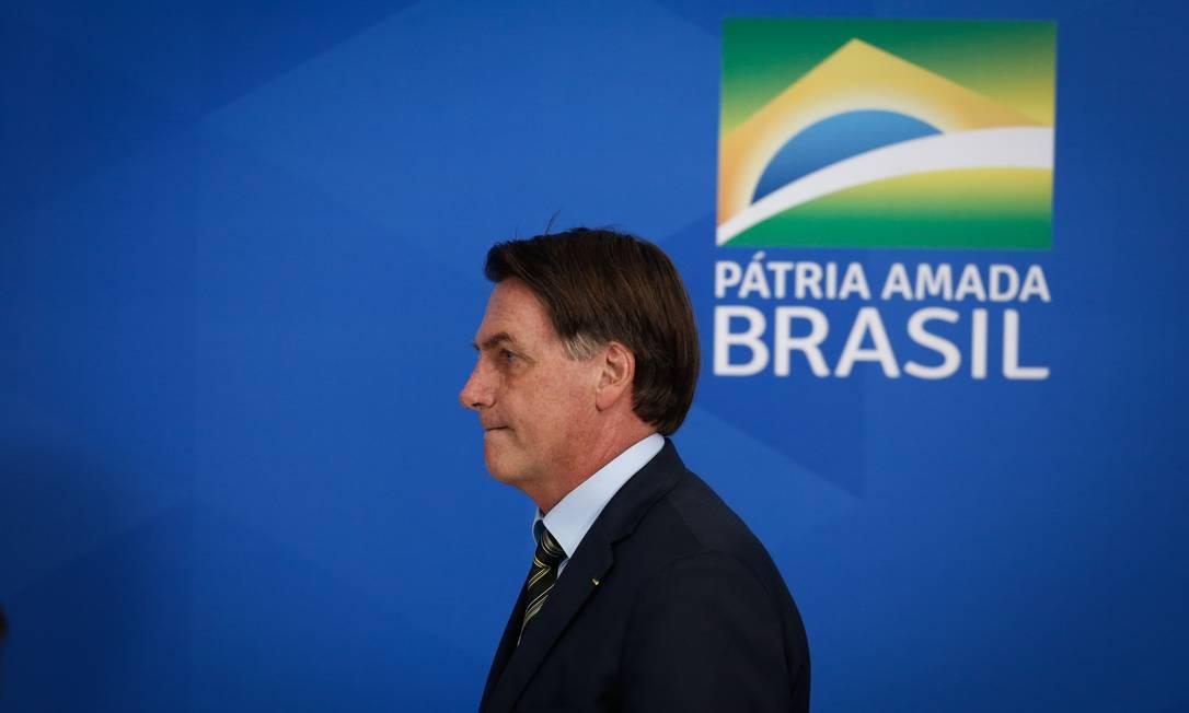 O presidente Jair Bolsonaro, durante pronunciamento à imprensa, no Palácio do Planalto Foto: Pablo Jacob/Agência O Globo/23-03-2020