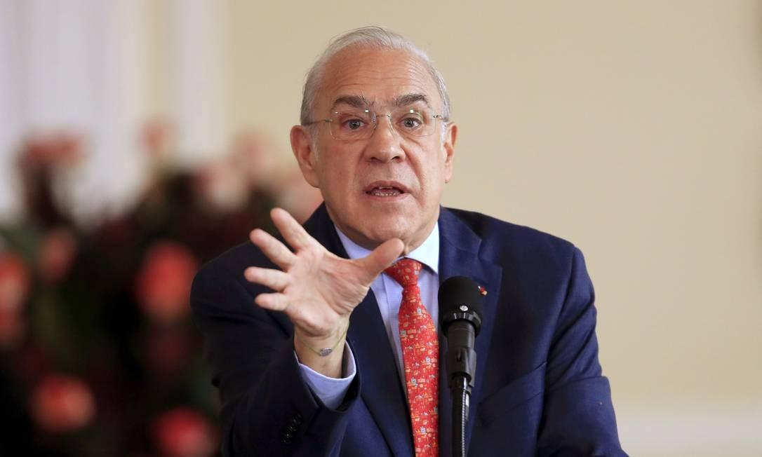 O secretário-geral da OECD, Ángel Gurría, demonstra preocupação com a economia global Foto: DANIEL MUNOZ / AFP