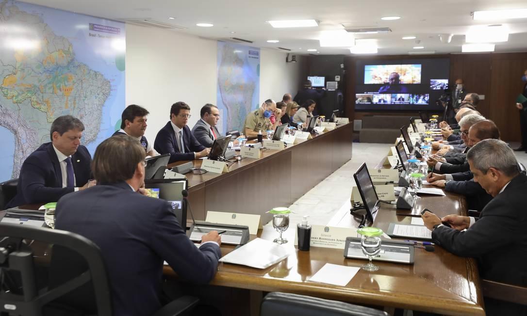 O presidente Jair Bolsonaro participa de videoconferência com governadores do Centro-Oeste Foto: Marcos Corrêa/Presidência