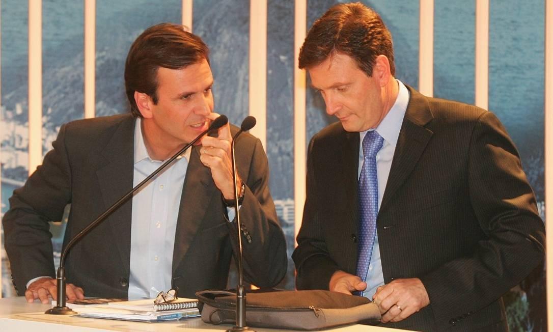 Eduardo Paes, ex-prefeito do Rio, e Marcelo Crivella, atual prefeito Foto: Reprodução