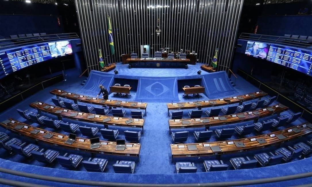 O Plenário do Senado vazio por causa do coronavírus Foto: André Coelho