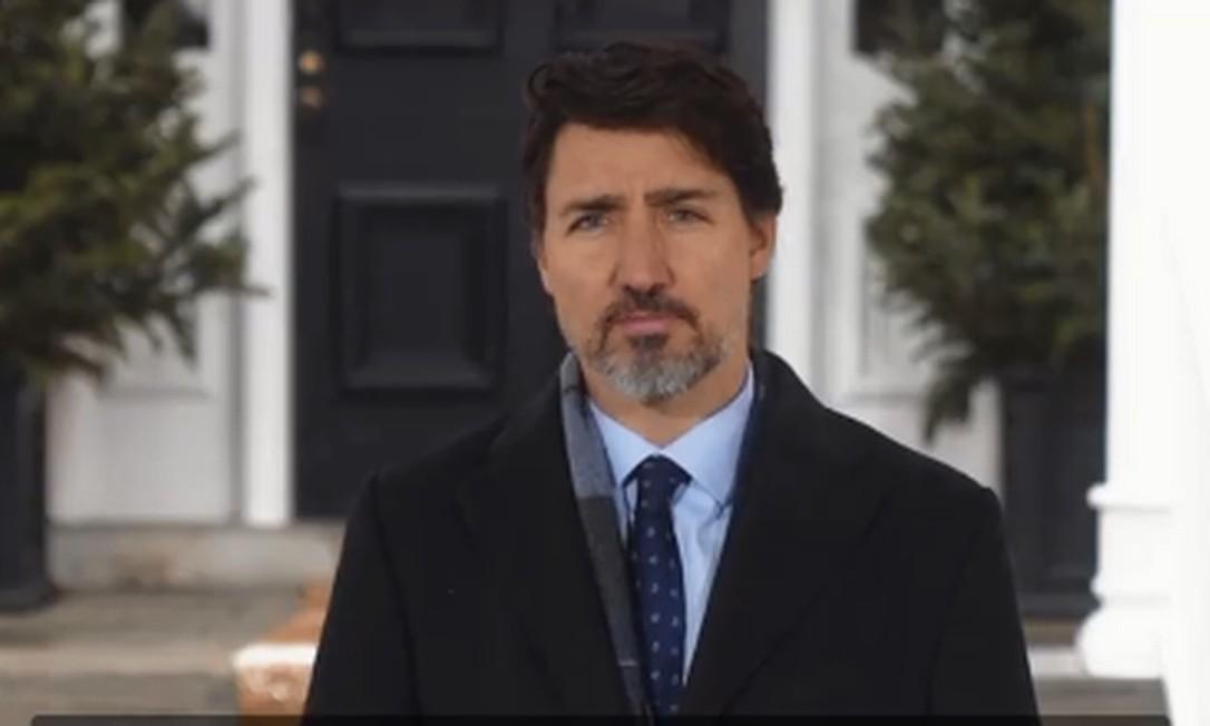 Primeiro-ministro do Canadá, Justin Trudeau, em pronunciamento Foto: Facebook / Reprodução
