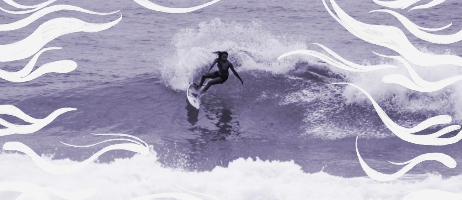 A surfista Yanca Costa é uma das organizadoras do concurso virtual de surfe feminino 'Shaka Girls', junto com a amiga Isabela Saldanha Foto: Arte sobre foto de Arthur de Carvalho