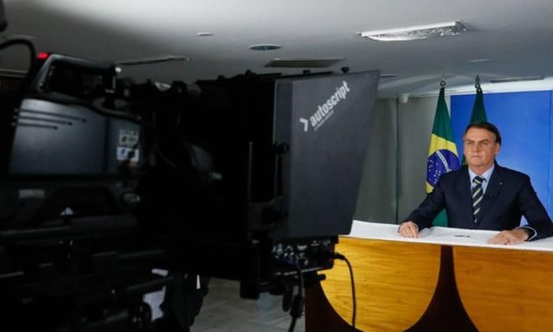 Jair Bolsonaro em pronunciamento Foto: Isac Nóbrega