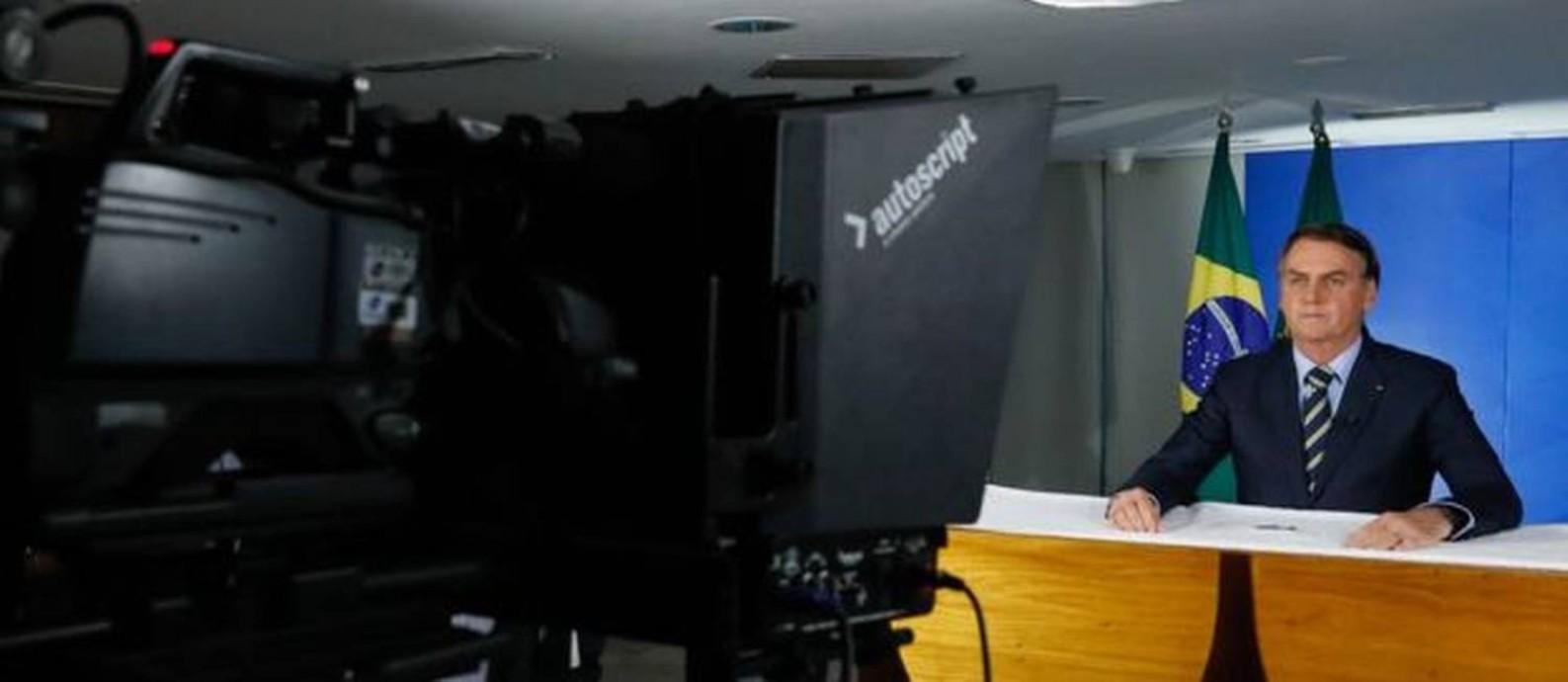 Jair Bolsonaro em pronunciamento em que criticou atos de alguns governadores Foto: Isac Nóbrega