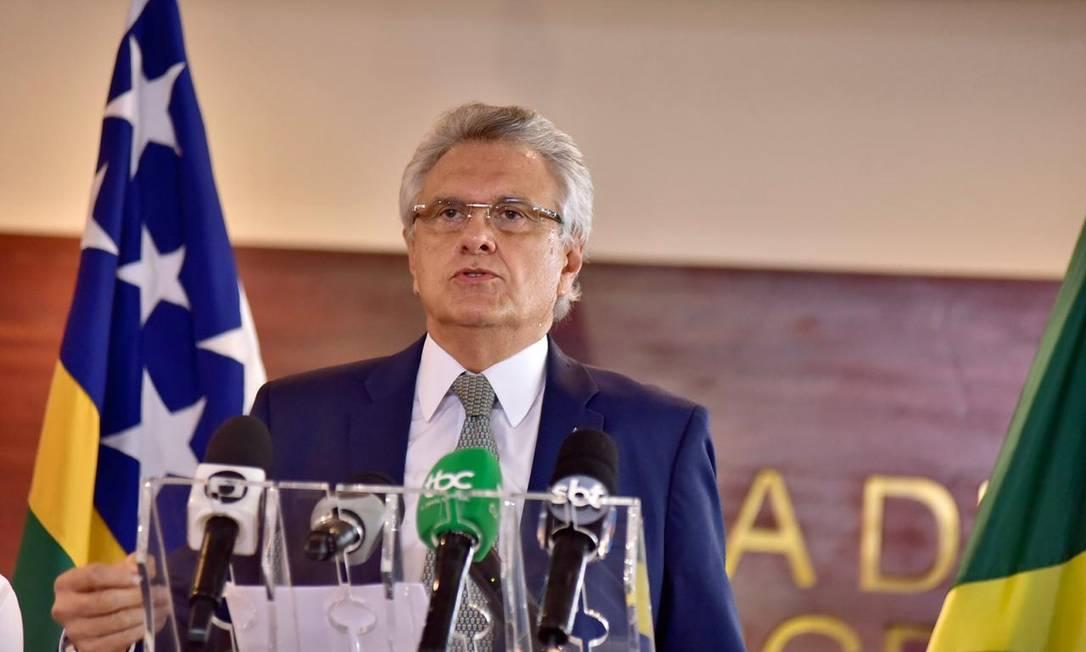 O governador de Goiás, Ronaldo Caiado, durante entrevista Foto: Divulgação