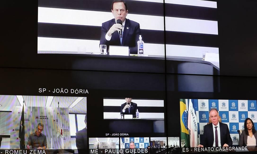 Reunião de governadores com Bolsonaro por videoconferência Foto: Divulgação