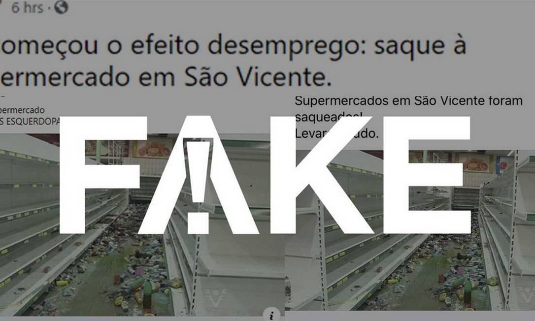 É #FAKE que vídeo mostre saques a supermercados e lojas em São Vicente em meio à pandemia do coronavírus Foto: Reprodução