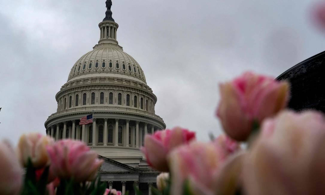 O Capitólio, em Washington: Senado aprova socorro histórico nos EUA Foto: Alex Edelman / AFP