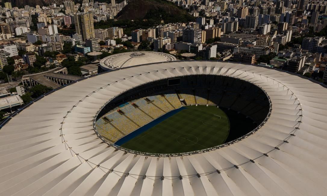 Estádio Maracanã. Jogos estão suspensas, e estrutura poderá ser usada como hospital de campanha para pacientes infectados pela Covid-19 Foto: Brenno Carvalho / Agência O Globo