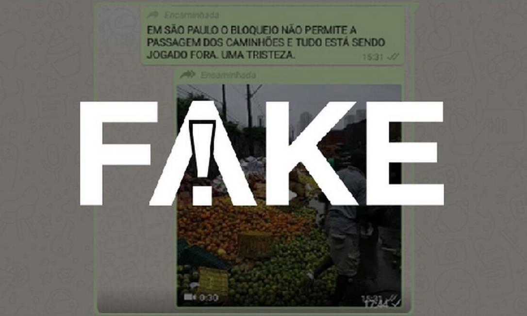É #FAKE que vídeo mostre descarte de alimentos na Ceagesp causado por bloqueio de caminhões após o novo coronavírus Foto: Reprodução