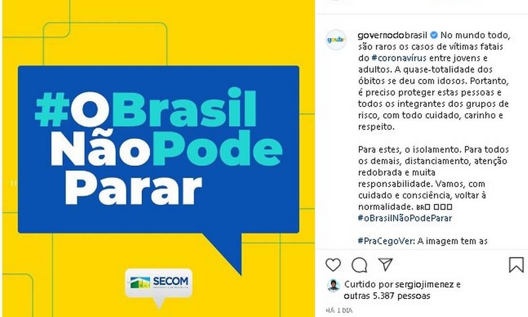Campanha com slogan 'O Brasil Não Pode Parar' Foto: Reprodução