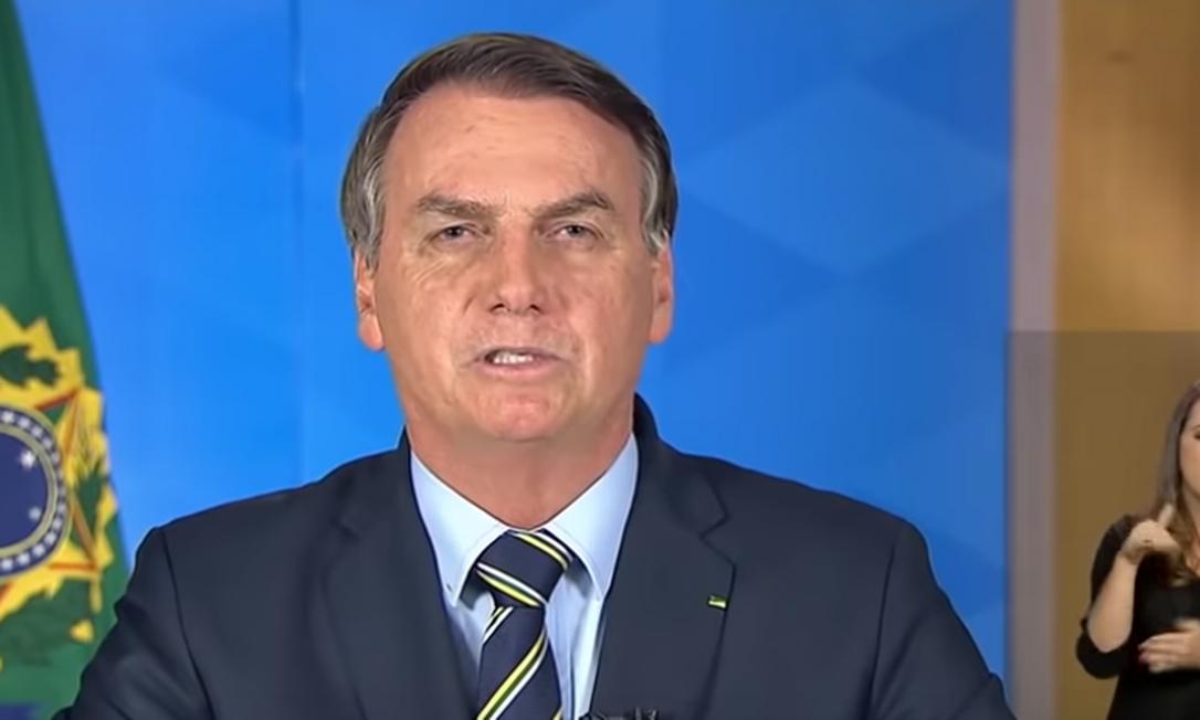Pronunciamento do presidente Jair Bolsonaro Foto: Reprodução