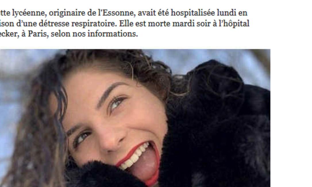 Julie, de 16 anos, foi a primeira menor morta na França com covid-19 Foto: Reprodução