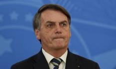 O presidente Jair Bosonaro, em pronunciamento no Palácio do Planalto Foto: Pablo Jacob / Agência O Globo