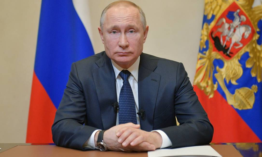 Presidente Vladimir Putin durante pronunciamento à nação na última quarta-feira Foto: SPUTNIK / via REUTERS / 25-03-2020