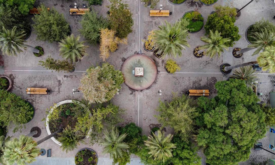 A Plaza de Armas, em Santiago, Chile Foto: MARTIN BERNETTI / AFP