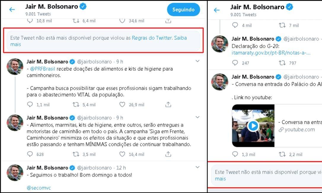 Posts no perfil do presidente Jair Bolsonaro foram excluídos pelo Twitter Foto: Twitter / Reprodução