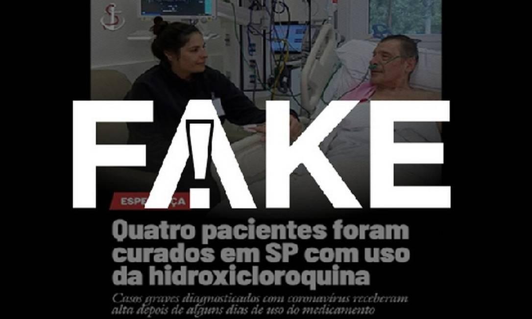É #FAKE que imagem mostre paciente curado da Covid-19 após uso de medicamento Foto: Reprodução