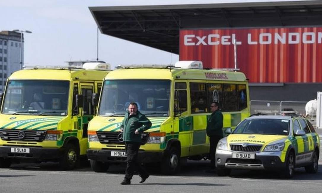 NHS Nightingale: em resposta ao coronavírus, novo hospital temporário está sendo instalado em Londres. Foto: Getty Images
