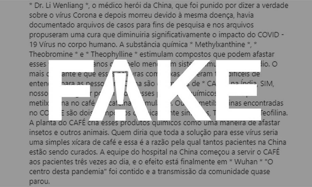 É #FAKE que café tem substâncias que combatem o coronavírus Foto: Reprodução