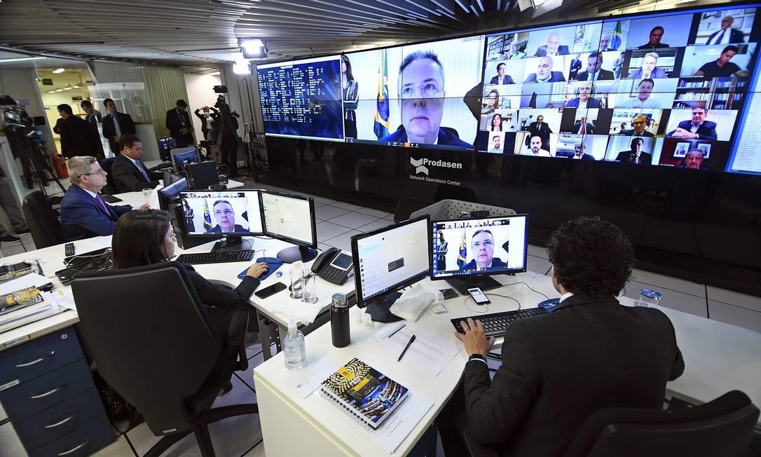 Senado promove sessão deliberativa remota durante quarentena contra coronavírus Foto: Marcos Oliveira / Agência O Globo