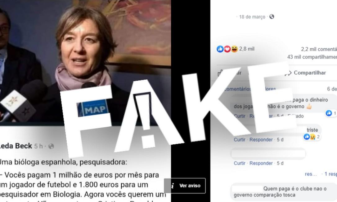 É #FAKE texto que afirma que suposta bióloga ironizou salários de Messi e Cristiano Ronaldo ao falar de cura do coronavírus Foto: Reprodução