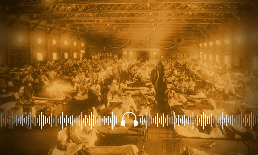 Em 1918, gripe espanhola matou cerca de 50 milhões de pessoas no mundo Foto: Arte