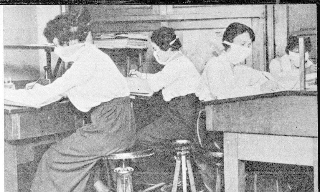 Mulheres trabalhando com máscara para evitar contágio da gripe espanhola Foto: Reprodução