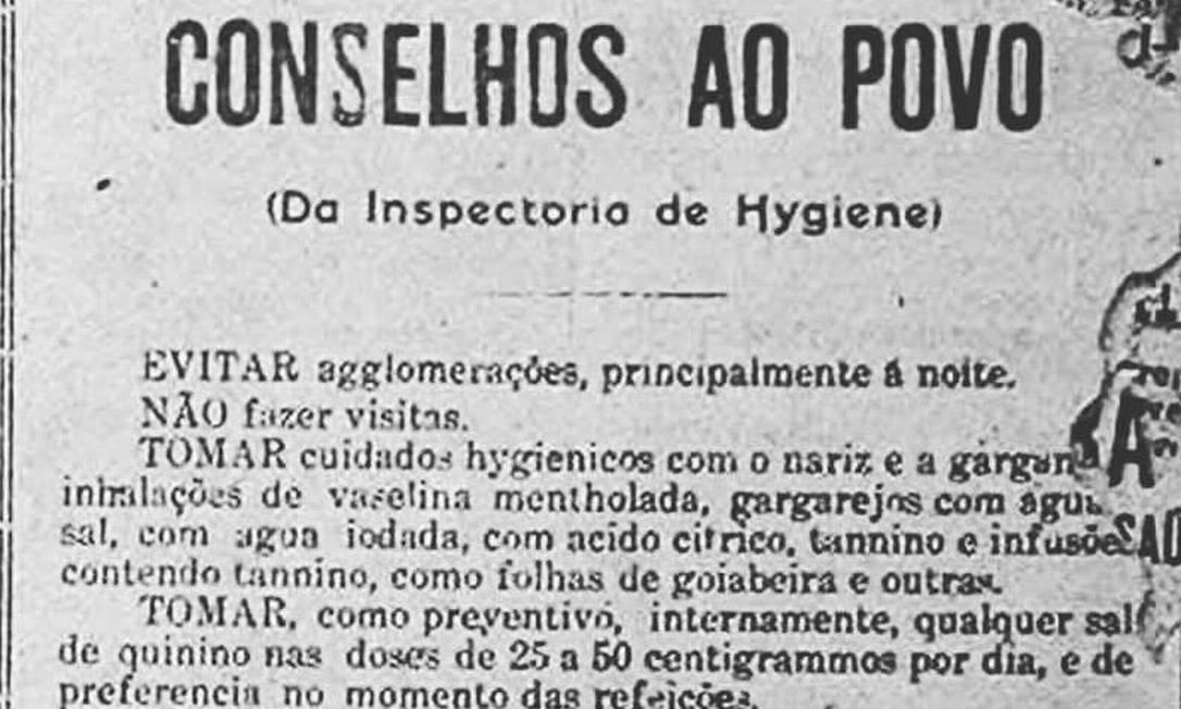 """Informativo trazia """"Conselhos ao Povo"""", com orienta??es – como evitar aglomera??es – para conter a gripe espanhola Foto: ?"""