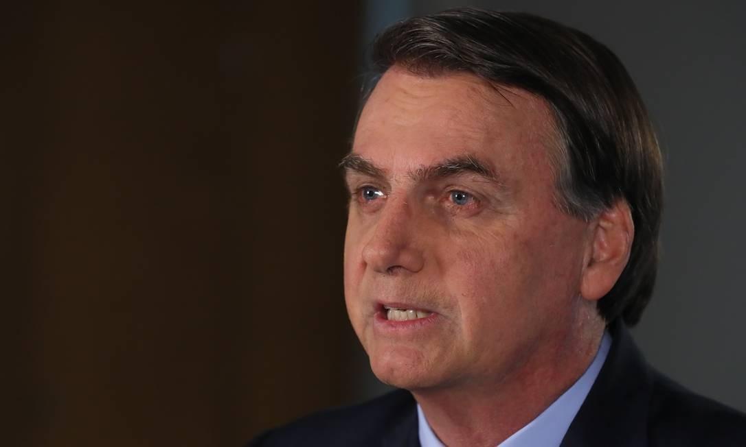 O presidente Jair Bolsonaro grava pronunciamento em cadeia nacional de rádio e televisão Foto: Isac Nóbrega/Presidência