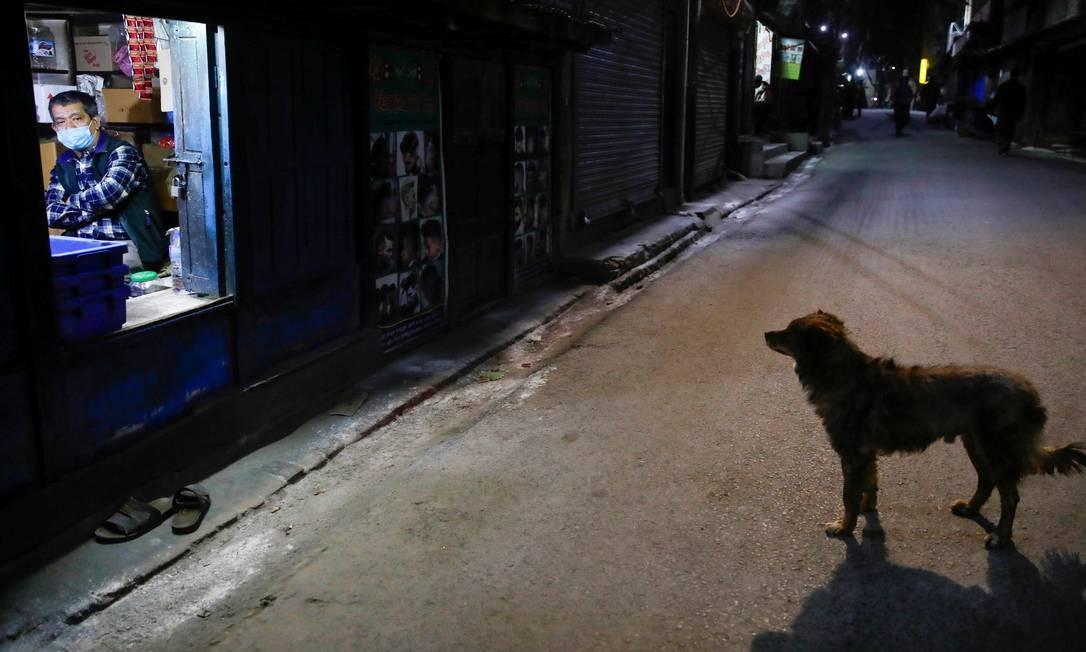 Homem senta-se dentro de uma loja enquanto um cachorro fica na rua deserta durante o sétimo dia do bloqueio imposto pelo governo em Kathmandu, Nepal Foto: NAVESH CHITRAKAR / REUTERS