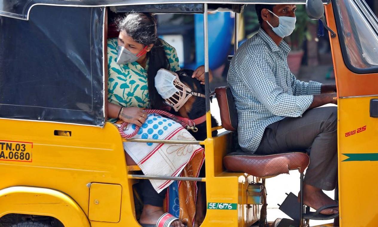 Um cão usa uma máscara protetora com sua dona dentro de um auto-piquete durante um bloqueio nacional para limitar a propagação da Covid-19 em Chennai, Índia Foto: P. RAVIKUMAR / REUTERS