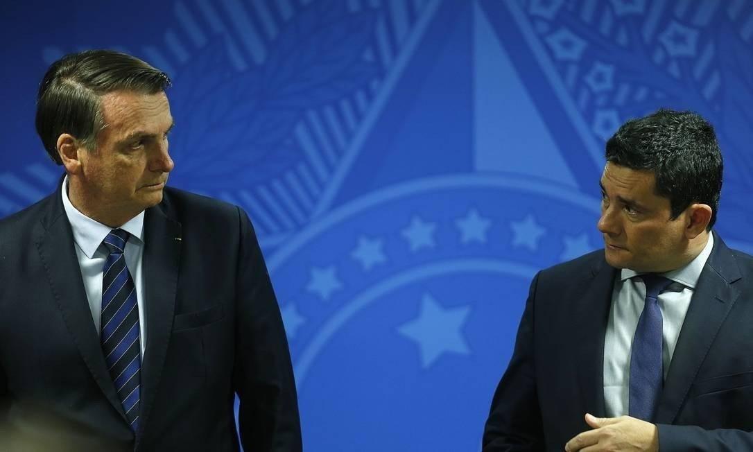 Presidente Jair Bolsonaro e ministro Sergio Moro Foto: Jorge William/Agência O Globo