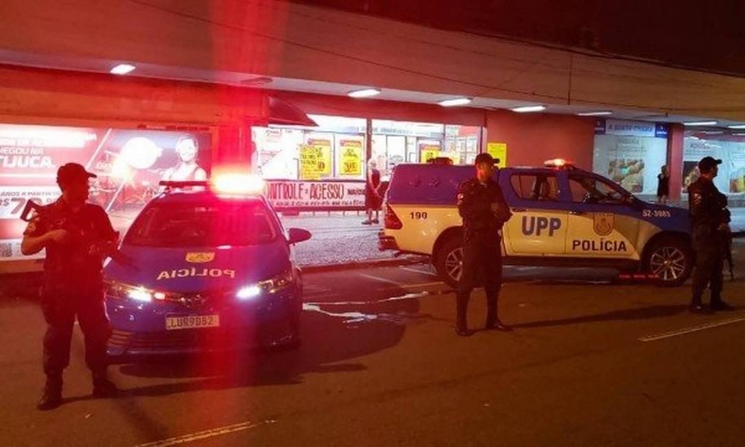 PM reforçou patrulhamento em bancos e supermercados Foto: Divulgação PM