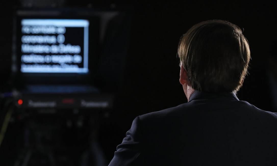 O presidente Jair bolsonaro durante gravação do pronunciamento na TV Foto: Divulgação