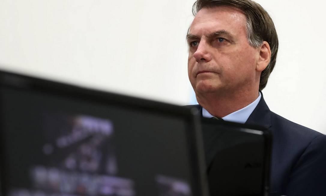 O presidente Jair Bolsonaro em videoconferência com governadores na semana passada Foto: Divulgação