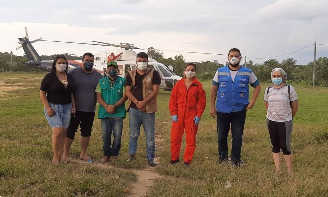 Equipe médica que chegou em Santo Antônio do Içá para monitorar indígenas após confirmação de casos de coronavírus no Amazonas Foto: Secretaria de Saúde de Santo Antônio do Içá