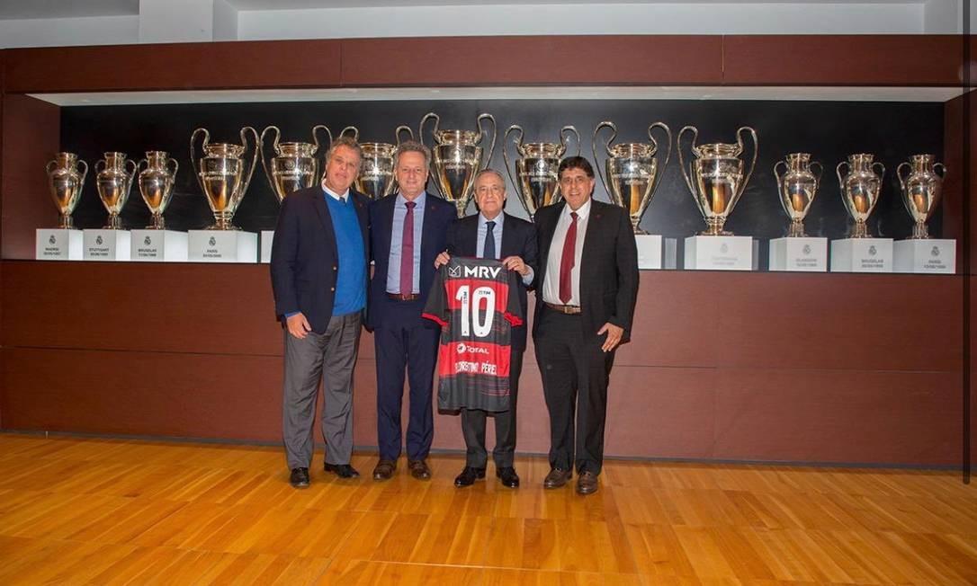 Dirigentes do Flamengo no Real Madrid Foto: Divulgação