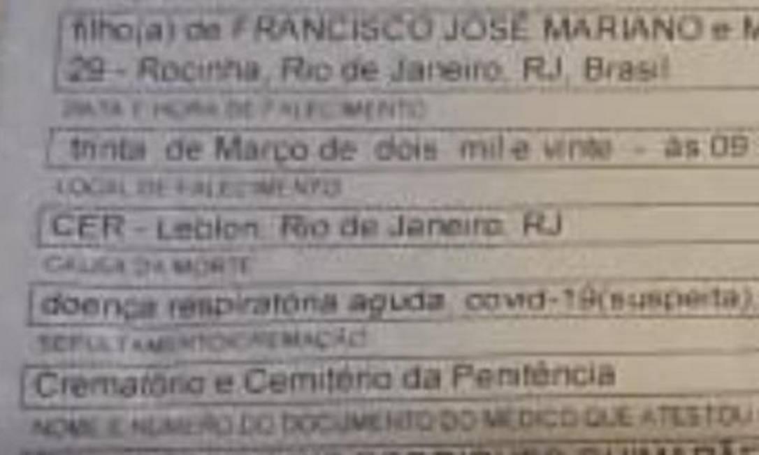 """Certidão de óbito indica como causa da morte de Antônio Edson Mesquita Mariano: """"Covid-19 (suspeita)"""" Foto: Reprodução"""