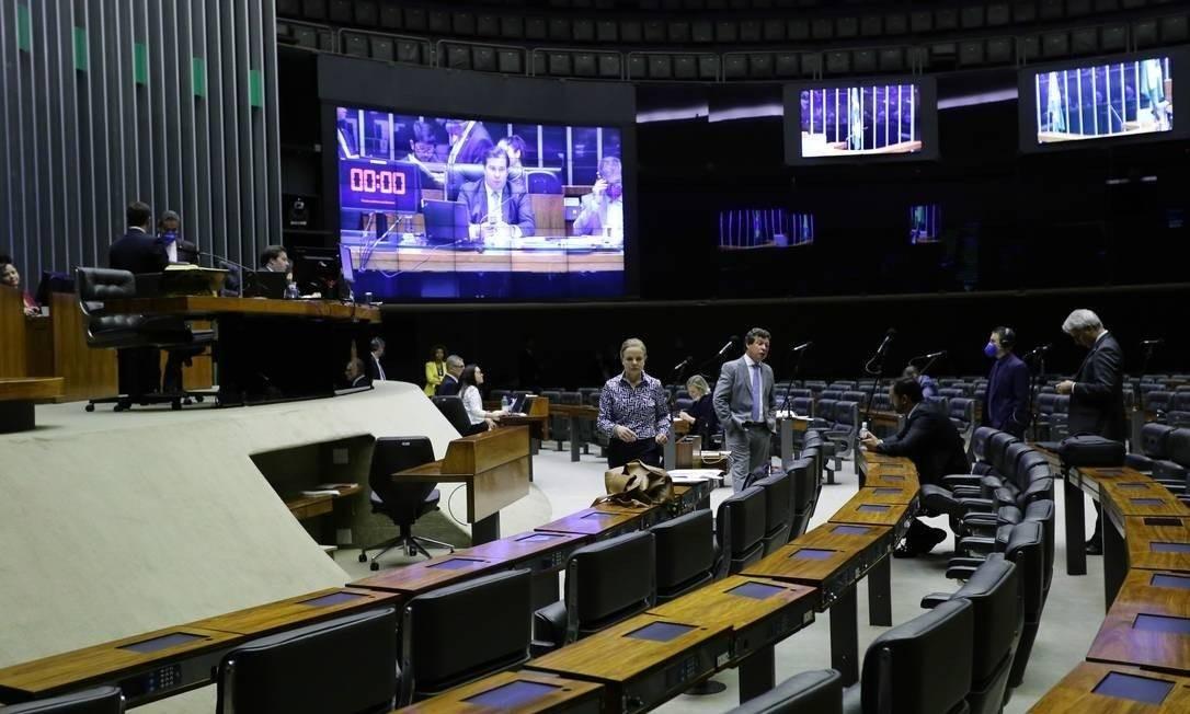 Câmara durante a pandemia: sessão virtual e apenas líderes no plenário Foto: Divulgação