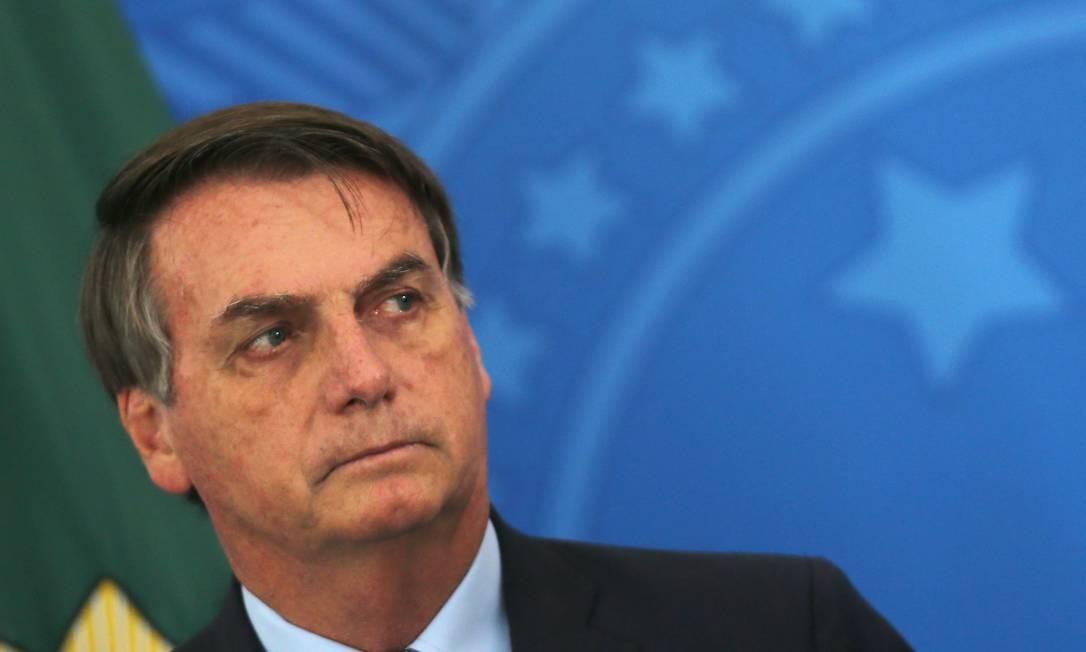 O presidente Jair Bolsonaro, em cerimônia no Palácio do Planalto Foto: Jorge William / Agência O Globo