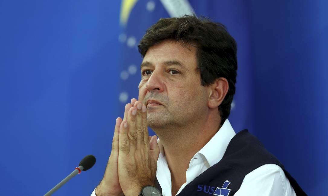 O ministro da Saúde, Luiz Henrique Mandetta, durante coletiva no Palácio do Planalto Foto: Pablo Jacob / Agência O Globo