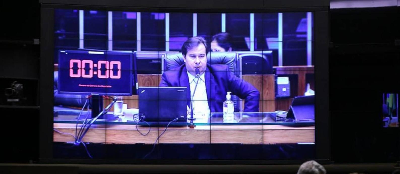 Rodrigo Maia participa de sessão da Câmara com participação remota de deputados Foto: Agência Câmara