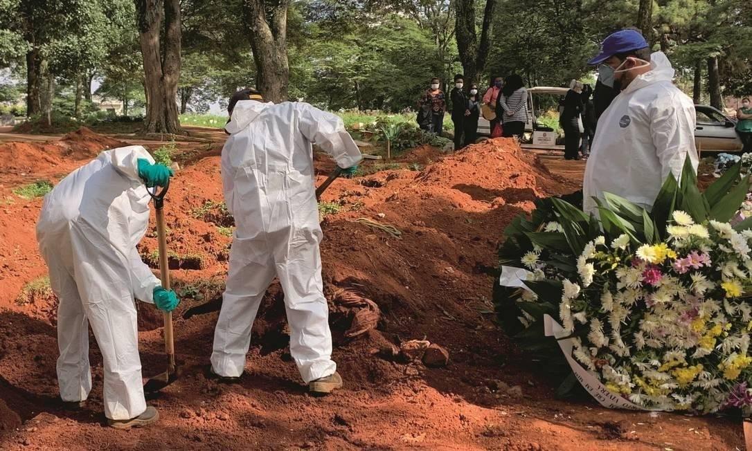 Enterro de vítima suspeita de coronavírus no maior cemitério de São Paulo Foto: Ulisses Campbell