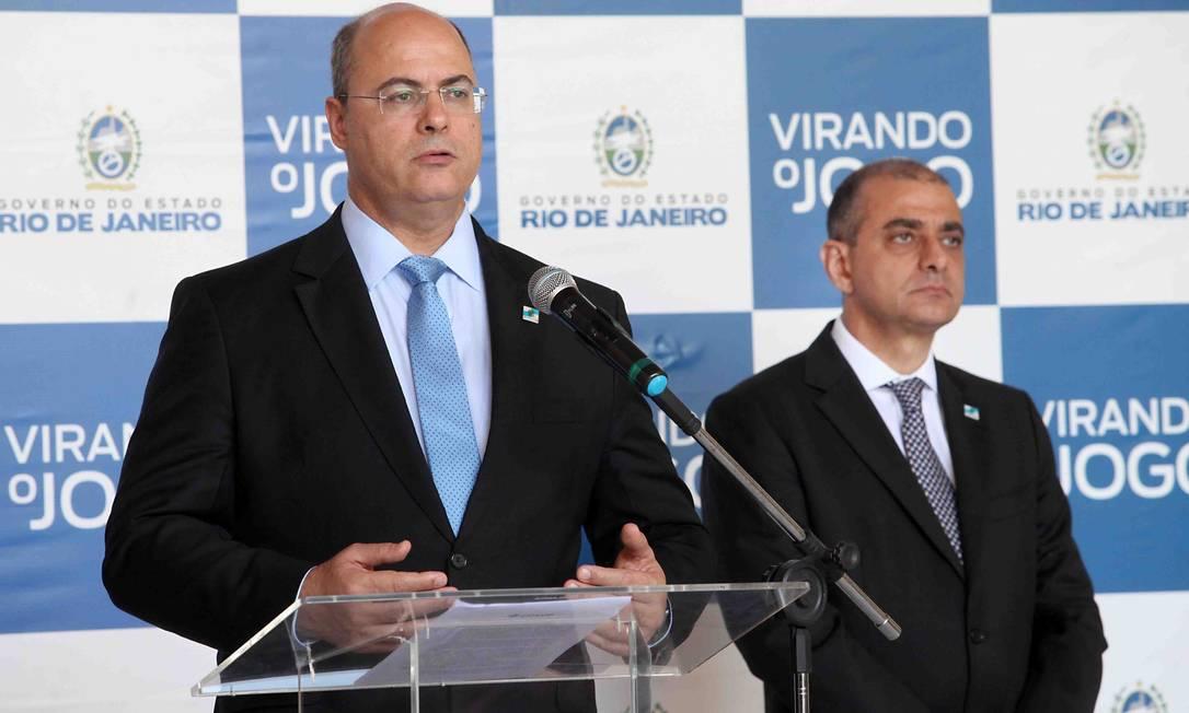 O governador Wilson Witzel e o secretário de Saúde, Edmar Santos Foto: Carlos Magno/Divulgação Governo do Estado