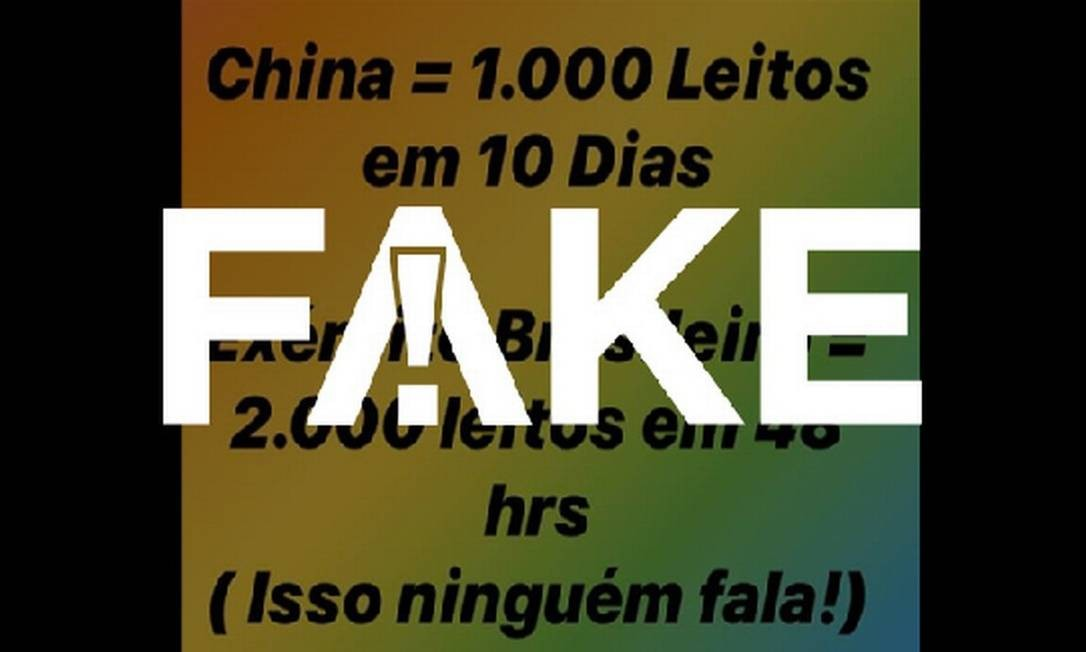É #FAKE que Exército Brasileiro abriu 2 mil leitos em 48 horas para pacientes com coronavírus Foto: Reprodução